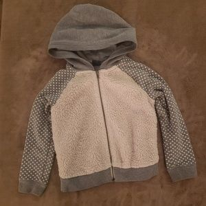 Girls Grey and White Furry Zip Up Hearts Hoodie